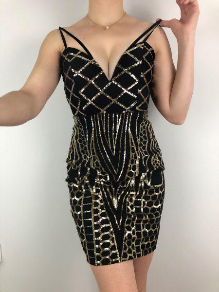 Φόρεμα Παγιέτα με V -