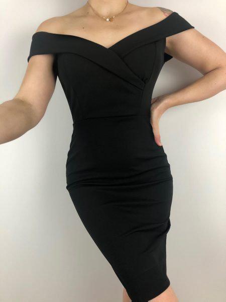 Φόρεμα Έξωμο Μίντι- Μαύρο