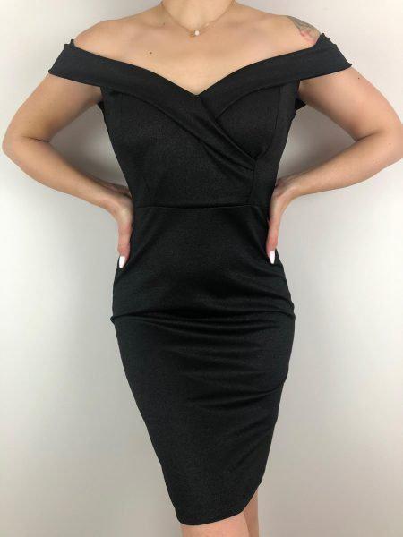 Φόρεμα Έξωμο Μίντι Ελαστικό γυαλιστερό- Μαύρο